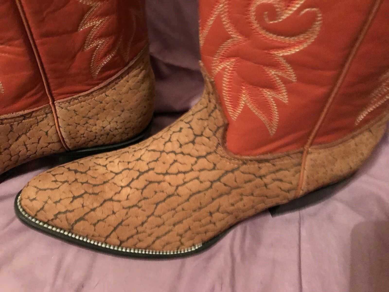 JEVER Cowboy Western Handcrafted Quilted Caramel Mens Boots Size 11 EE NEW W BOX
