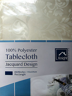 "IVORY COLOUR TABLECLOTH 60"" x 90"" RECTANGULAR"
