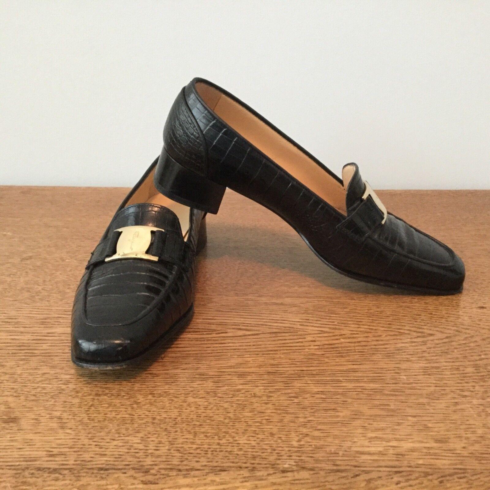 Ferragamo Ferragamo Ferragamo Cuero Para mujeres Zapatos Bombas Tamaño 4.5 B Negro Hecho en Italia con el logotipo de latón  marcas de diseñadores baratos