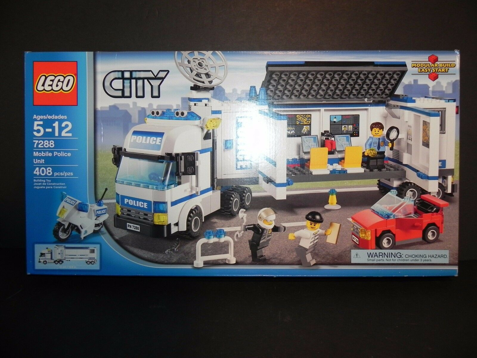 LEGO CITY - 7288 MOBILE POLICE UNIT ~ 408 Pieces from 2011 - Nuovo in Sealed Box