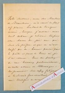 L-A-S-1848-General-Prince-Felix-de-von-LICHNOWSKY-Alcide-Beauchesne-lettre