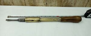 Vintage-UNMARKED-PLATED-BRASS-Pump-Ratchet-Screwdriver-17-INCH-LONG