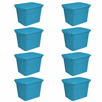 Sterilite 18 Gallon Plastic Storage Tote, Blue Aquarium (8 Pack) | 17314308 on sale