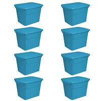 Sterilite 18 Gallon Plastic Storage Tote, Blue Aquarium (8 Pack)   17314308 on sale