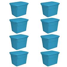 Sterilite 18 Gallon Plastic Storage Tote, Blue Aquarium (8 Pack) | 17314308