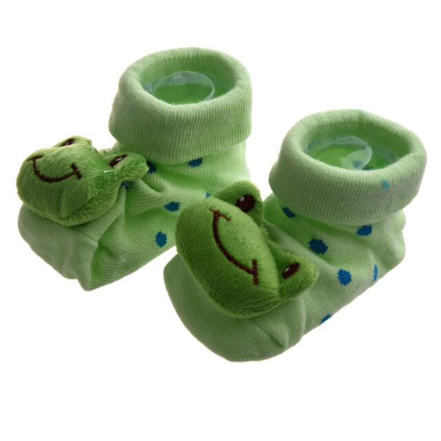 Green Frog - Irresistibly Cute Baby Boy Girl 3D Bootie Socks Anti CS
