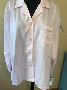 NWT-Miss-Elaine-Pajama-Top-Sleep-Shirt-Pink-XL