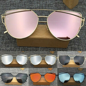 Women-s-Flat-Lens-Mirrored-Metal-Frame-Glasses-Oversized-Cat-Eye-Sunglasses-New