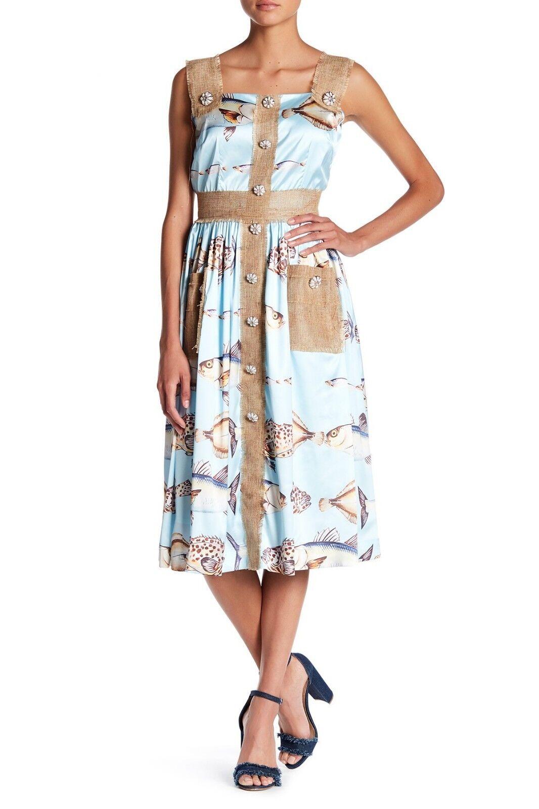 NWT TOV Burlap Contrast Button Printed Sleeveless Dress Fish Print bluee 40 US 6