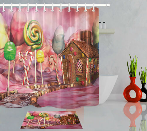 """60//72/"""" Gingerbread House On Candy Land Bathroom Fabric Shower Curtain Hooks Set"""
