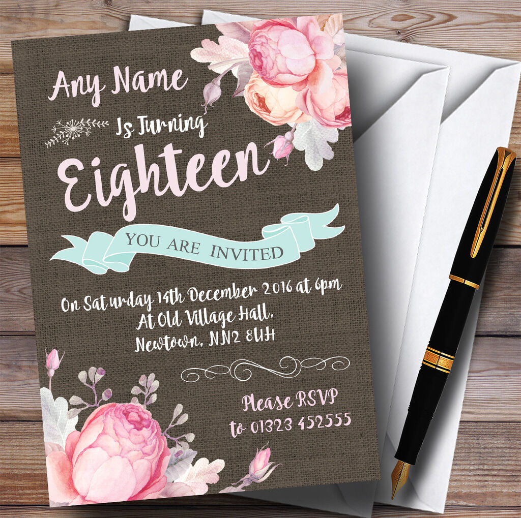 Vintage Burlap Style Floral 18th Personalised Birthday Party Invitations Invitations Invitations 4dbae0