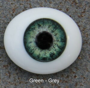 Solid Glass, Flatback Oval Paperweight Eyes - Green Grey, 24mm