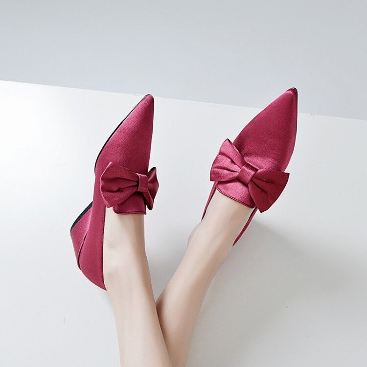 Femmes Satin Knot Chunky Kitten Heels Pumps Slip On Solid Stylish Mary Jane chaussures