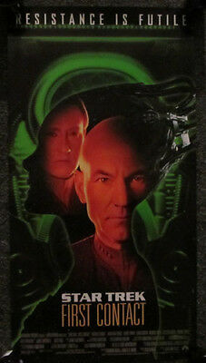 """NEW ROLLED STAR TREK 1997 DOUBLE SIDED /""""FIRST CONTACT/"""" LAS VEGAS HILTON POSTER"""