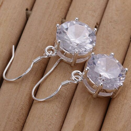 Fashion 925 Sterling Argent Massif Bijoux Crystal Round Dangle Earrings E172