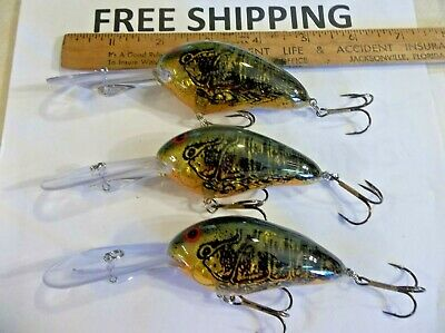 Lot of 3 Norman Fishing Lures DD22 11-17 Ft New Crankbaits GREAT COLOR TACKLE.
