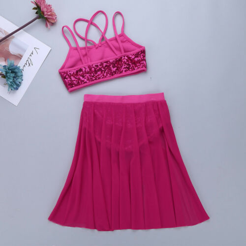 Kids Girls Lyrical Latin Dress Dance Gym Leotard Ballerina Ballet Skirt Costumes