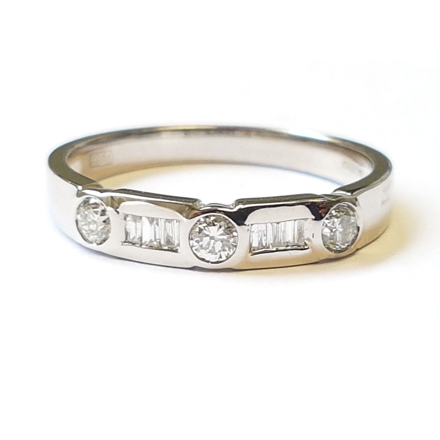 0.30 Carat Round And Baguette Diamond Half Eternity Ring,  9k White gold