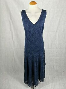Ladies-Dress-Size-20-JOANNE-HOPE-Navy-Lace-Midi-Party-Evening-Wedding