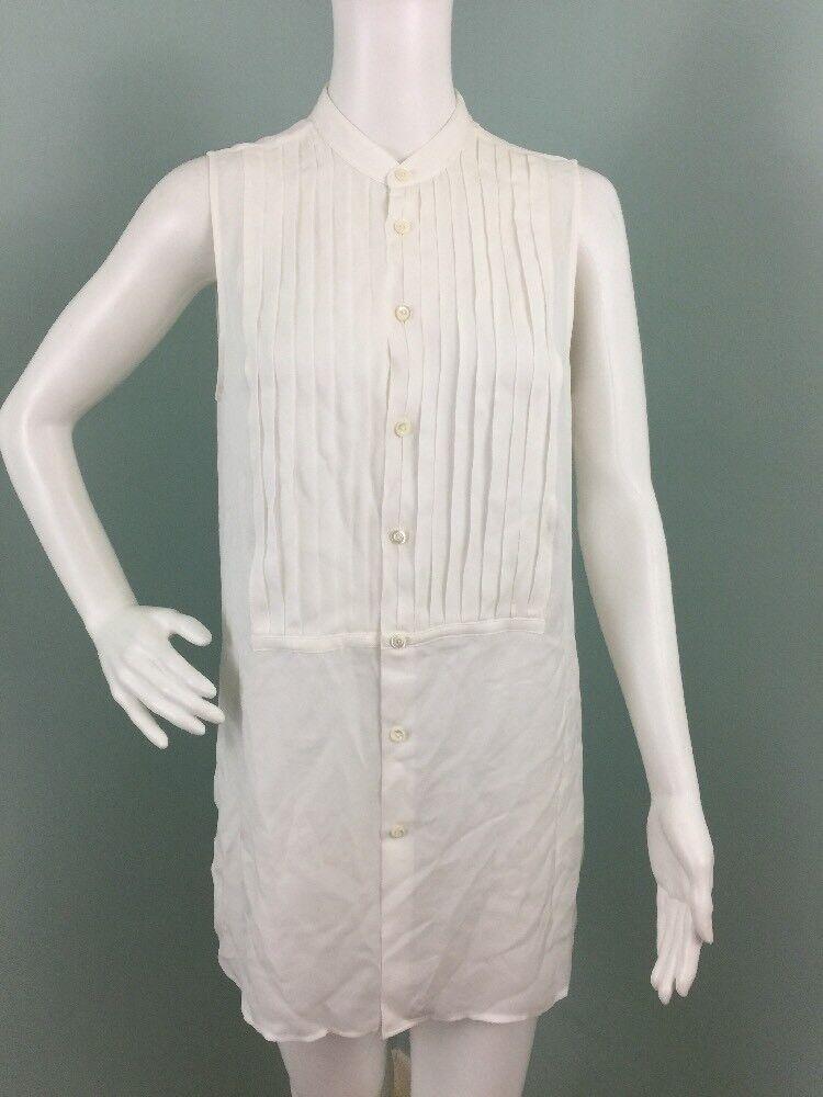 NWT damen Polo Ralph Lauren Sleevless Ivory Pleated Bib Silk Blouse Top Sz 8