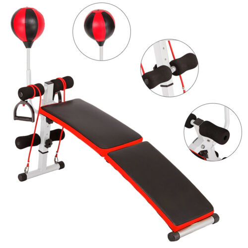 Foldable Sit Up Bench Core Workout Fitness Trainer Band Ropes Boxing Ball