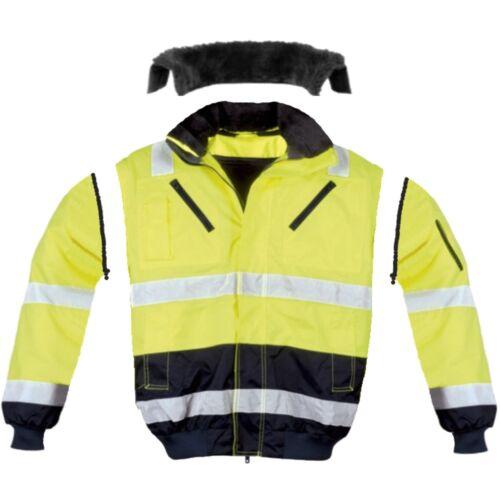 4in1 Pilotenjacke Warnschutzjacke Warnjacke Winterjacke Arbeitsjacke Gelb S-XXXL