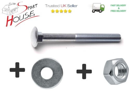 M6 6mm CARRIAGE BOLTS WITH NUTS /& WASHERS CUP SQUARE COACH SCREWS ZINC PLATED