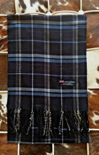 100/% Cashmere Scarf Blue Dark Check Plaid Made in Scotland SOFT Warm NEW