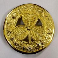 Kilt Fly Plaid Brooch Irish Shamrock Golden 3/large Shamrock Brooch Fly Plaid