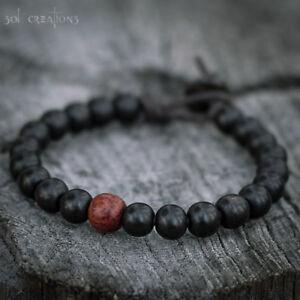 Mens Mala Bracelet Leather Beaded Surfer Wood Beads Black Red