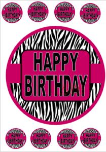 Strange Zebra Print Birthday Edible Cake Cupcake Topper Decoration Wafer Personalised Birthday Cards Veneteletsinfo