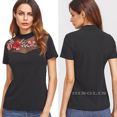 Women Short Sleeve Shirt Mesh Sheer See-through Top Floral Embroidered Tops Tee