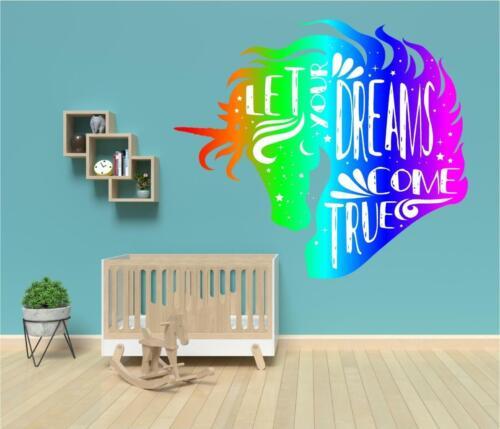 Unicorn Head Dreams Rainbow Colour Modern Wall Art Sticker Decal Transfer Mural