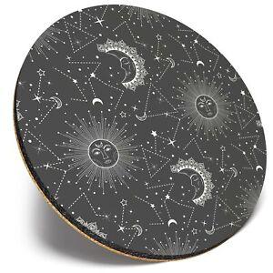 Round Single Coaster  - BW - Sun & Moon Astronomy  #35236