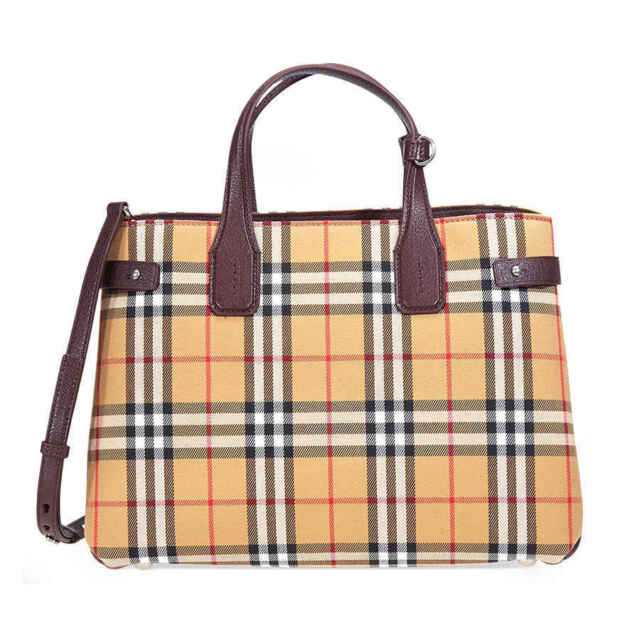 01c0265ab85c Burberry Medium Banner Vintage Check Canvas   Leather Tote for sale ...