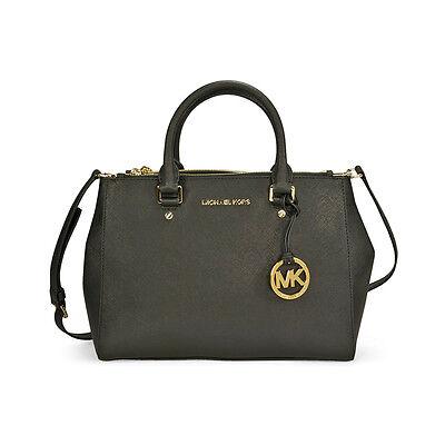 Michael Kors  Sutton Leather Medium Satchel Handbag - Black