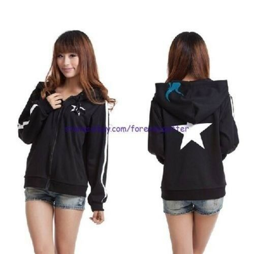 Japan Anime Black Rock Shooter BRS Cosplay Costume Hoodies Sweater Sport Jersey