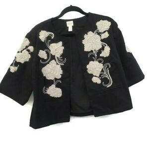 Chico-039-s-Womens-Cropped-Jacket-Coat-Floral-Applique-Beaded-Black-Size-0