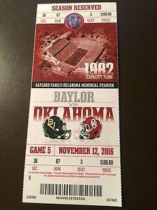 Oklahoma Sooners 2016 NCAA football ticket stub vs Baylor ...