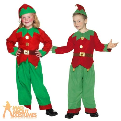 Kids Elf Costume Boys Girls Santas Little Helper Christmas Fancy Dress Outfit