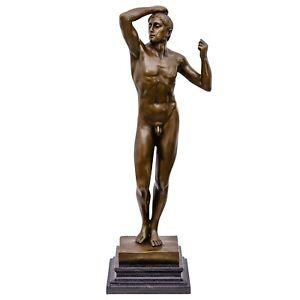 Bronzeskulptur-erotische-Kunst-nach-Rodin-Bronze-Akt-Mann-Figur-Skulptur-47cm
