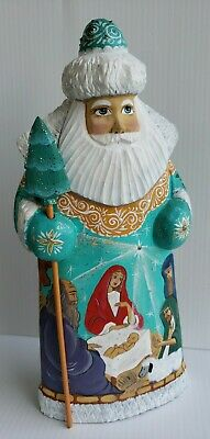 Hand carved Santa Claus figurine 9 vintage Nativity set Christmas decorations Nativity scene