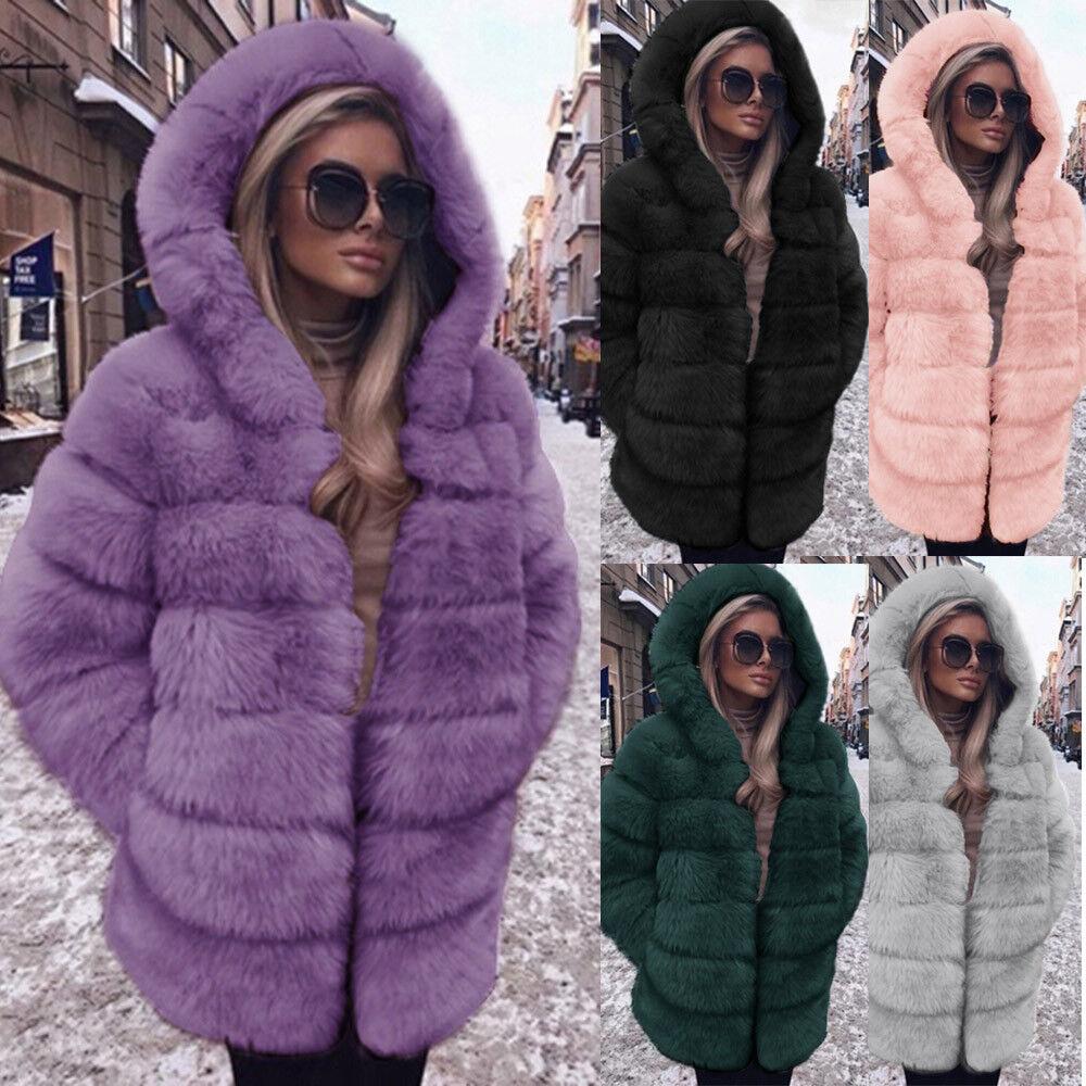 Plus Size Women Fashion Luxury Faux Fur Coat Hooded Autumn Winter Warm Overcoat