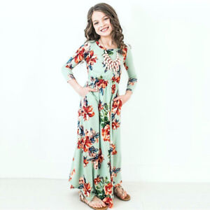 04e3f03cd Blesiya Girls Boho Floral Maxi Dress Long Sleeve Party Festival ...