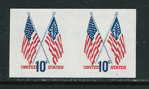 SCOTT-1519a-1973-10-CENT-CROSSED-FLAGS-ISSUE-IMPERF-PAIR-MNH-OG-VF-CAT-35