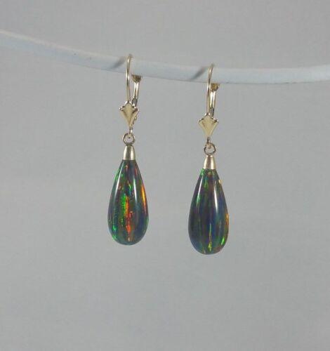 Large Black Fire Opal 14K Solid Yellow Gold Tear Drop Dangle Earrings