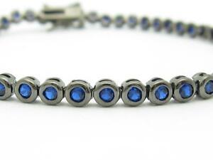 Black-Gold-Sterling-Silver-Blue-Sapphire-Round-Cut-Bezel-Tennis-Bracelet-Gift