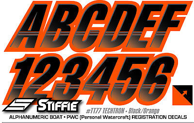 STIFFIE Techtron Red//White 3 Alpha-Numeric Registration Identification Numbers Stickers Decals for Boats /& Personal Watercraft