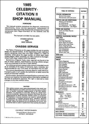 1985 Chevrolet Citation II Celebrity Repair Shop Manual Chevy Original OEM