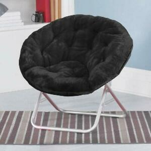 Folding-Saucer-Moon-Chair-Dorm-Camping-Club-Soft-Padded-Seat-Stool-Sofa-Black